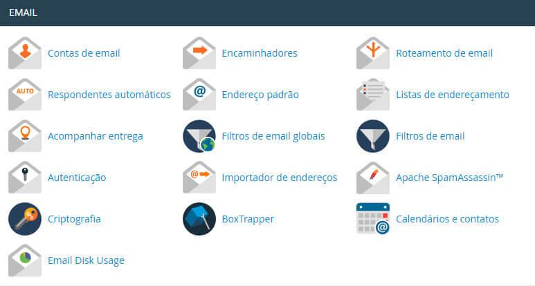 adicionar e-mail no cpanel, criar e-mail no cpanel, seção email no cpanel, métricas no cpanel
